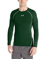 Under Armour Men's HeatGear Armour Long Sleeve Compression Shirt, Forest Green/White, Small