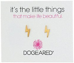 Dogeared 朵吉尔 It's the Little Things Lightening Bolt Post Earrings 金色闪电耳钉